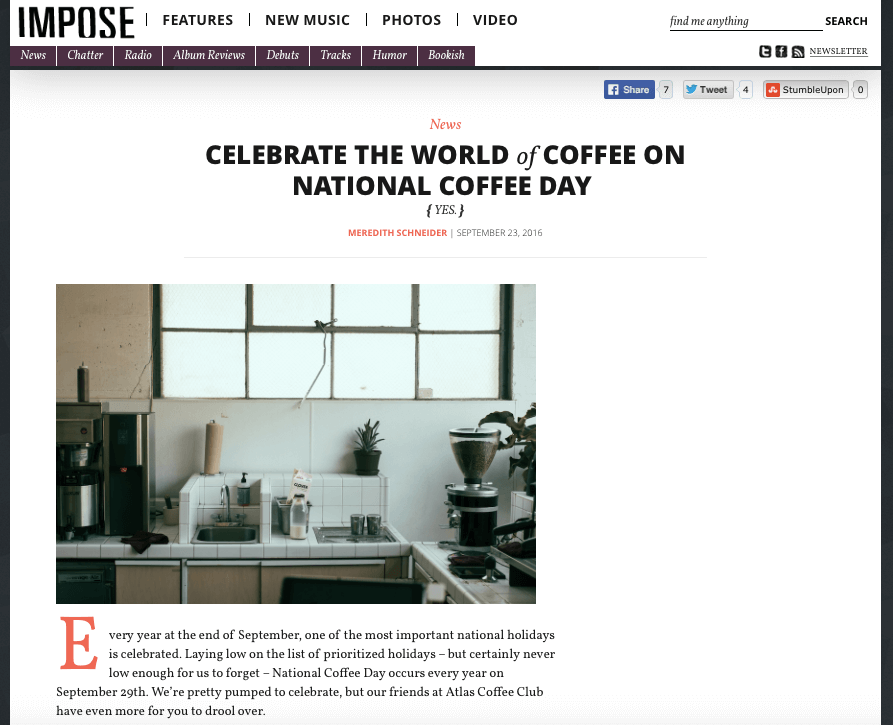 National Coffee Day Impose Magazine