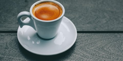 Shot of espresso in a cup