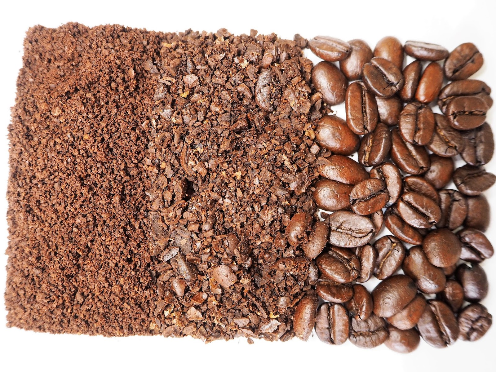 Coffee grounds in three different grind sizes