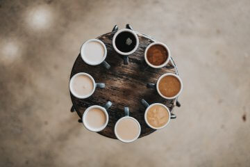 Different types of coffee in a circle